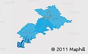 Political Shades 3D Map of Haute-Garonne, single color outside