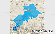 Political Shades Map of Haute-Garonne, shaded relief outside
