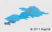 Political Shades Panoramic Map of Haute-Garonne, cropped outside