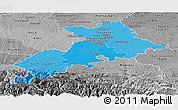 Political Shades Panoramic Map of Haute-Garonne, desaturated