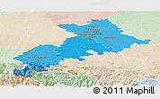 Political Shades Panoramic Map of Haute-Garonne, lighten