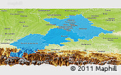 Political Shades Panoramic Map of Haute-Garonne, physical outside