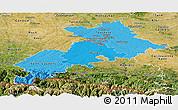 Political Shades Panoramic Map of Haute-Garonne, satellite outside