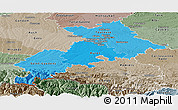 Political Shades Panoramic Map of Haute-Garonne, semi-desaturated