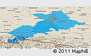 Political Shades Panoramic Map of Haute-Garonne, shaded relief outside