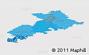 Political Shades Panoramic Map of Haute-Garonne, single color outside