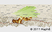 Physical Panoramic Map of Saint-Gaudens, shaded relief outside