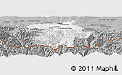 Gray Panoramic Map of Bagneres-de-Bigorre