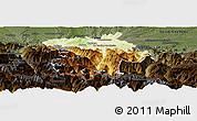 Physical Panoramic Map of Bagneres-de-Bigorre, darken