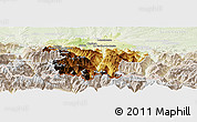 Physical Panoramic Map of Bagneres-de-Bigorre, lighten