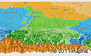 Political Shades Panoramic Map of Hautes-Pyrénées