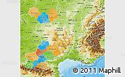 Political Map of Midi-Pyrénées, physical outside