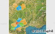 Political Map of Midi-Pyrénées, satellite outside