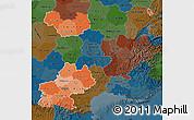 Political Shades Map of Midi-Pyrénées, darken