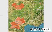 Political Shades Map of Midi-Pyrénées, satellite outside