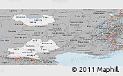 Gray Panoramic Map of Midi-Pyrénées