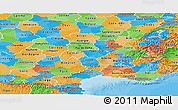 Political Panoramic Map of Midi-Pyrénées