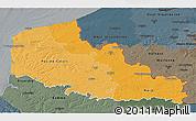 Political Shades 3D Map of Nord-Pas-de-Calais, darken, semi-desaturated