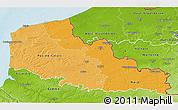Political Shades 3D Map of Nord-Pas-de-Calais, physical outside