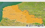 Political Shades 3D Map of Nord-Pas-de-Calais, satellite outside