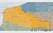 Political Shades 3D Map of Nord-Pas-de-Calais, semi-desaturated