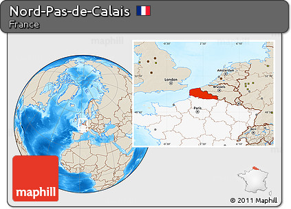 Free Shaded Relief Location Map of NordPasdeCalais highlighted