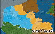Political Map of Nord-Pas-de-Calais, darken