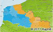 Political Map of Nord-Pas-de-Calais, physical outside