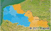 Political Map of Nord-Pas-de-Calais, satellite outside