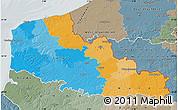Political Map of Nord-Pas-de-Calais, semi-desaturated
