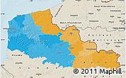 Political Map of Nord-Pas-de-Calais, shaded relief outside