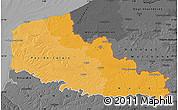 Political Shades Map of Nord-Pas-de-Calais, darken, desaturated