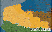 Political Shades Map of Nord-Pas-de-Calais, darken