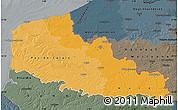 Political Shades Map of Nord-Pas-de-Calais, darken, semi-desaturated