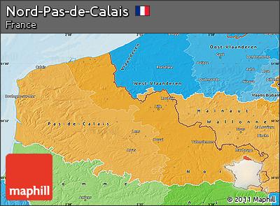 Political Shades Map of Nord-Pas-de-Calais