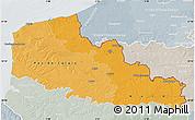 Political Shades Map of Nord-Pas-de-Calais, lighten, semi-desaturated