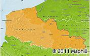 Political Shades Map of Nord-Pas-de-Calais, physical outside