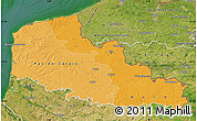 Political Shades Map of Nord-Pas-de-Calais, satellite outside