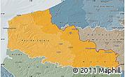 Political Shades Map of Nord-Pas-de-Calais, semi-desaturated
