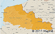 Political Shades Map of Nord-Pas-de-Calais, shaded relief outside