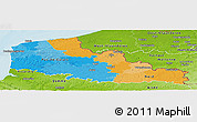 Political Panoramic Map of Nord-Pas-de-Calais, physical outside
