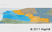 Political Panoramic Map of Nord-Pas-de-Calais, semi-desaturated