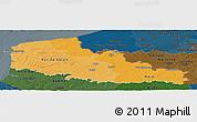 Political Shades Panoramic Map of Nord-Pas-de-Calais, darken