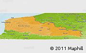 Political Shades Panoramic Map of Nord-Pas-de-Calais, physical outside