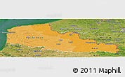 Political Shades Panoramic Map of Nord-Pas-de-Calais, satellite outside