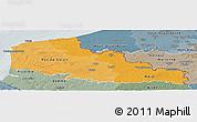Political Shades Panoramic Map of Nord-Pas-de-Calais, semi-desaturated