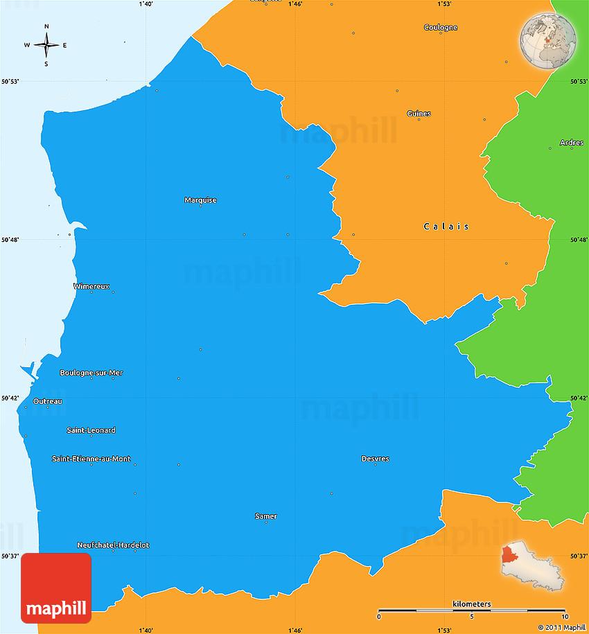 political simple map of boulogne sur mer. Black Bedroom Furniture Sets. Home Design Ideas