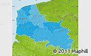Political Shades Map of Pas-de-Calais, physical outside