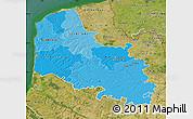 Political Shades Map of Pas-de-Calais, satellite outside