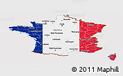 Flag Panoramic Map of France, flag centered